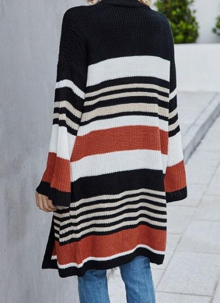 V-Neckline Color Block Casual Loose Long Pockets Sweaters_5