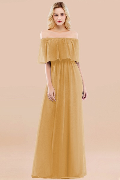 A-line Chiffon Off-the-Shoulder Short-Sleeves Ruffles Floor-length Bridesmaid Dress_13
