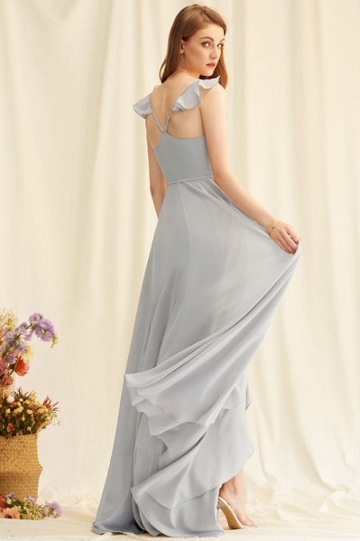 A-Line V-neck Asymmetrical Chiffon Evening Dress With Split Front