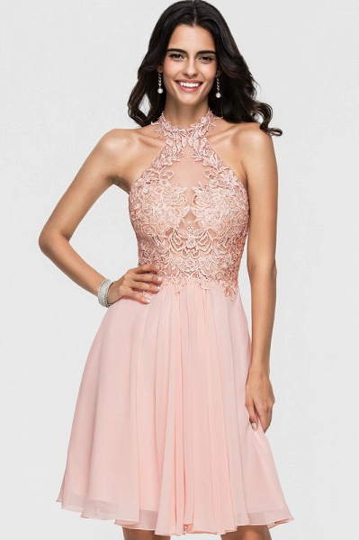 A-Line Halter Knee-Length Chiffon Homecoming Dress With Lace Beading_2