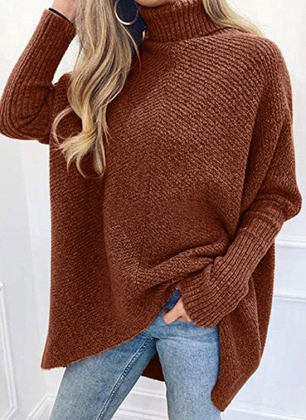 High Neckline Solid Casual Loose Regular A-line Sweaters_6