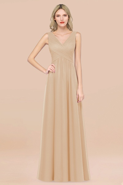 A-Line Chiffon Straps V-Neck Sleeveless Floor-Length Bridesmaid Dress with Ruffles_14