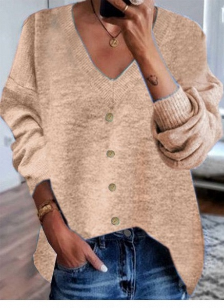 V-Neckline Solid Casual Loose Shift Sweaters_2