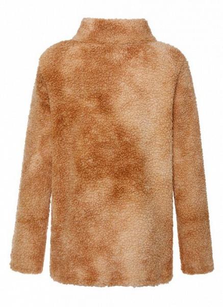 High Neckline Color Block Casual Loose Regular Zipper Sweaters_7