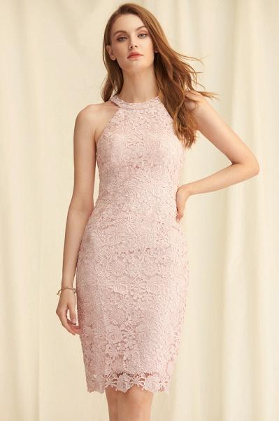 Sheath/Column Scoop Neck Knee-Length Lace Cocktail Dress_2