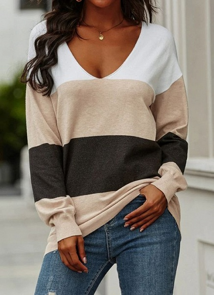 V-Neckline Color Block Casual Loose Regular A-line Sweaters_1