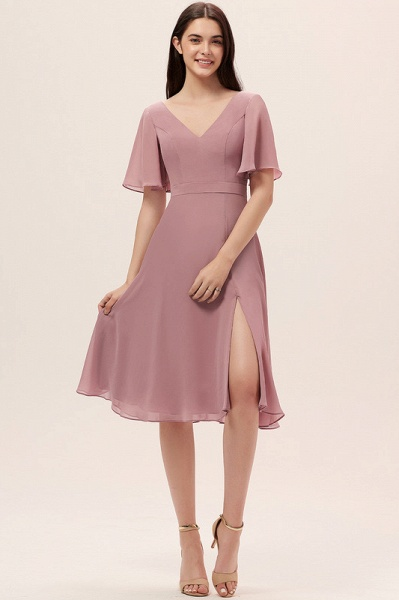 A-Line V-neck Knee-Length Chiffon Cocktail Dress With Split Front_2