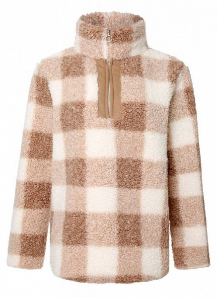 High Neckline Color Block Casual Loose Regular Zipper Sweaters_1