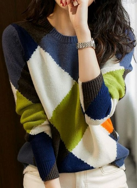 Round Neckline Color Block Casual Loose Regular Shift Sweaters_5