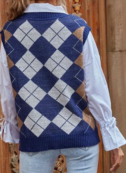 V-Neckline Color Block Casual Loose Regular Shift Sweaters_2