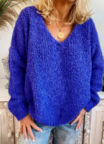 V-Neckline Solid Casual Loose Regular Shift Sweaters_2