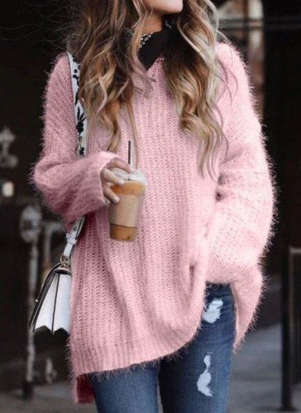 Round Neckline Solid Casual Loose Long A-line Sweaters_2
