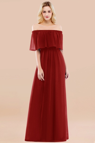 A-line Chiffon Off-the-Shoulder Short-Sleeves Ruffles Floor-length Bridesmaid Dress_48