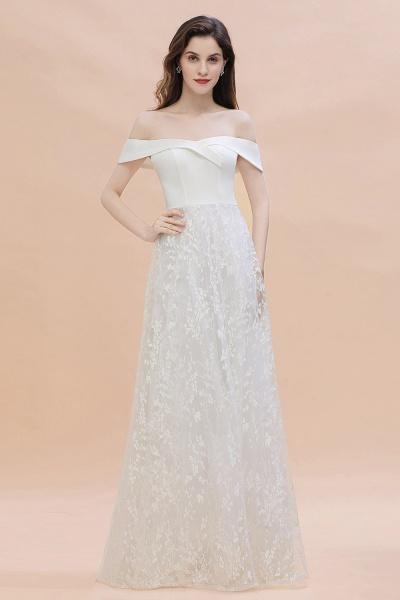 A-Line Off The Shoulder Lace Long Wedding Dress_1