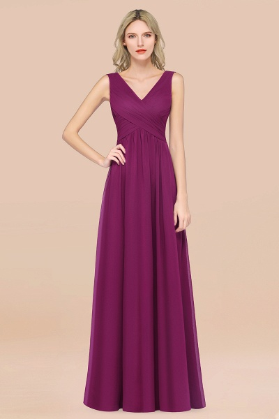 A-Line Chiffon Straps V-Neck Sleeveless Floor-Length Bridesmaid Dress with Ruffles_42