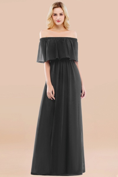 A-line Chiffon Off-the-Shoulder Short-Sleeves Ruffles Floor-length Bridesmaid Dress_46