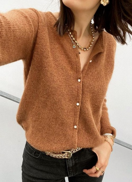 Round Neckline Solid Casual Loose Regular Buttons Sweaters