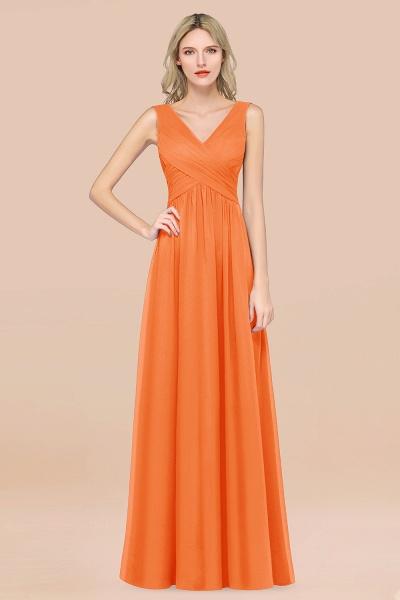 A-Line Chiffon Straps V-Neck Sleeveless Floor-Length Bridesmaid Dress with Ruffles_15