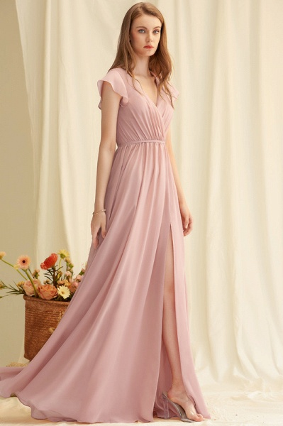 A-Line V-neck Floor-Length Chiffon Evening Dress With Split Front_3