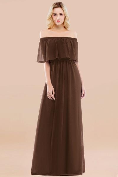 A-line Chiffon Off-the-Shoulder Short-Sleeves Ruffles Floor-length Bridesmaid Dress_12