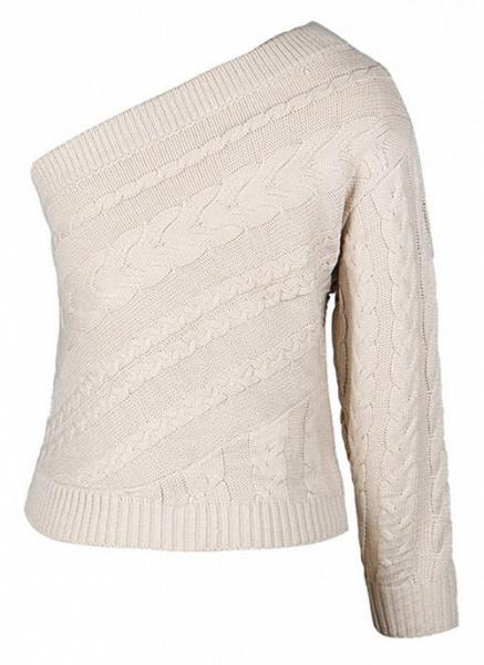 Oblique Neckline Solid Sexy Loose Regular Shift Sweaters_3