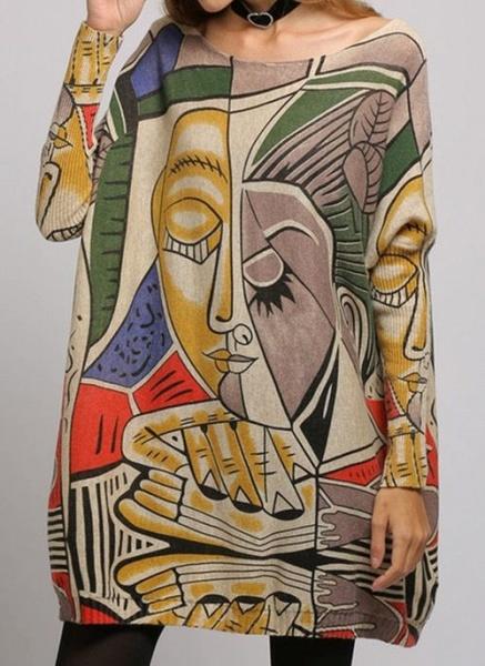 Boat Neckline Color Block Casual Loose Regular Shift Sweaters_8