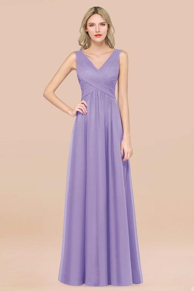 A-Line Chiffon Straps V-Neck Sleeveless Floor-Length Bridesmaid Dress with Ruffles_21