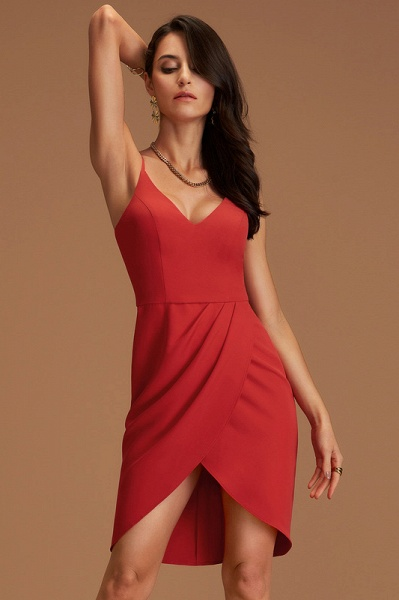 Sheath/Column V-neck Stretch Crepe Cocktail Dress