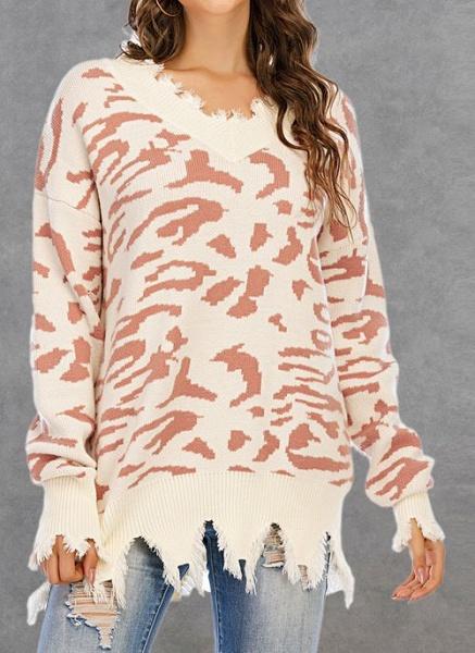 V-Neckline Leopard Casual Loose Regular Shift Sweaters_1