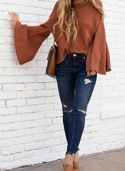 Round Neckline Solid Casual Loose Regular A-line Sweaters_8