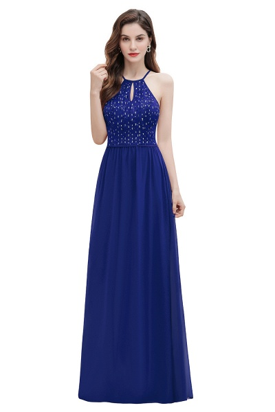 Halter Sequins A-line Chiffon Evening Dress_2