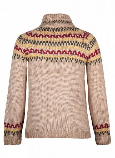 High Neckline Color Block Casual Loose Regular Shift Sweaters_3