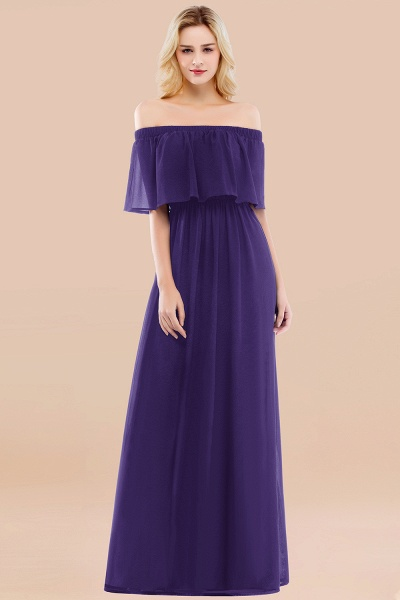 A-line Chiffon Off-the-Shoulder Short-Sleeves Ruffles Floor-length Bridesmaid Dress_19