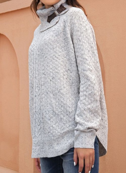 Draped Neckline Solid Casual Loose Regular Shift Sweaters_4