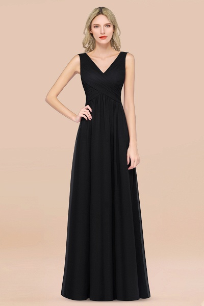 A-Line Chiffon Straps V-Neck Sleeveless Floor-Length Bridesmaid Dress with Ruffles_29