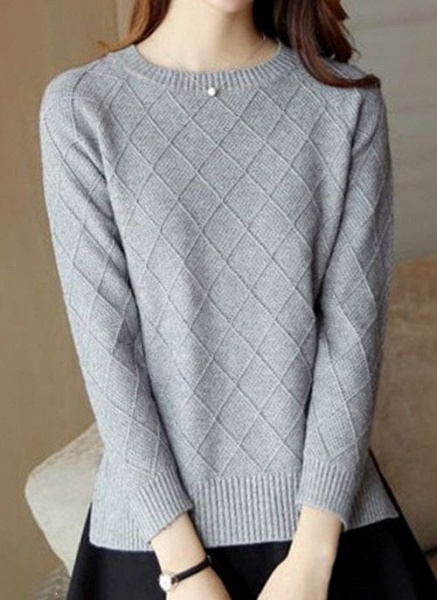 Round Neckline Solid Casual Loose Regular Shift Sweaters_11