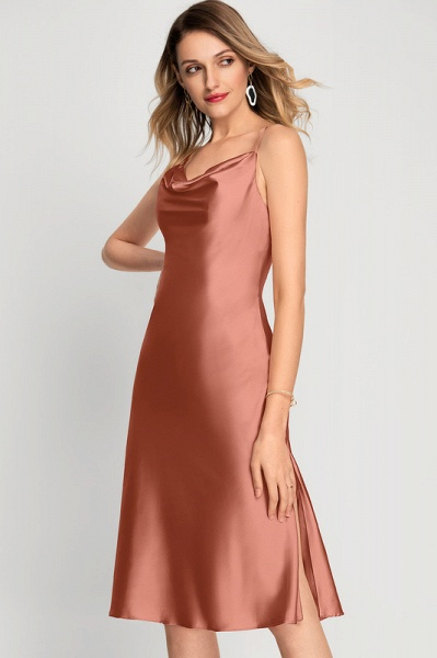 A-Line Cowl Neck Knee-Length Cocktail Dress With Split Front_3