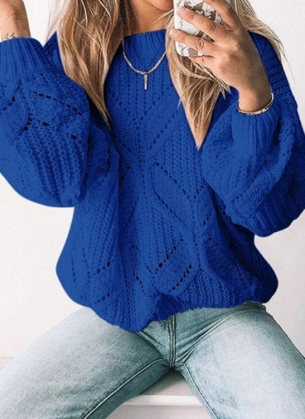 Round Neckline Solid Casual Loose Regular Shift Sweaters_4