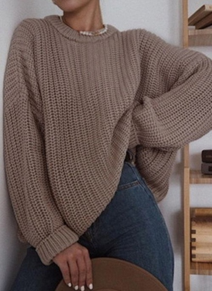 Round Neckline Solid Casual Loose Regular Shift Sweaters_5