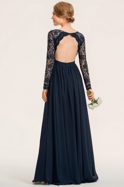 A-Line V-neck Floor-Length Chiffon Lace Evening Dress_5