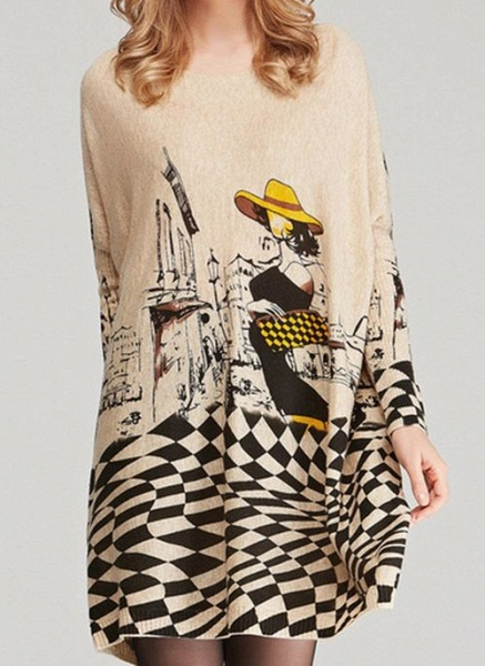 Round Neckline Color Block Casual Loose Long Shift Sweaters