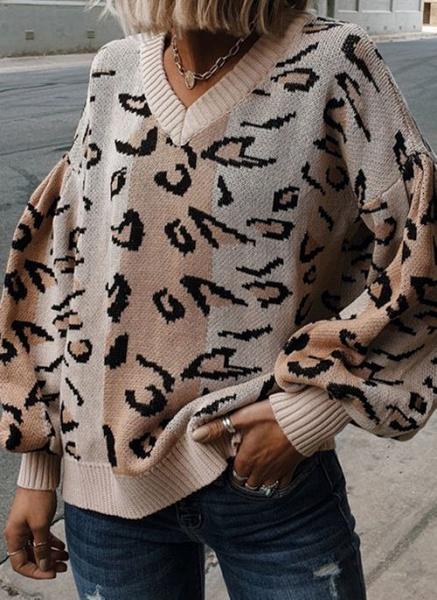 V-Neckline Leopard Elegant Loose Regular Shift Sweaters_2