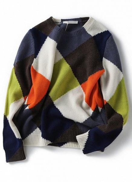 Round Neckline Color Block Casual Loose Regular Shift Sweaters_6