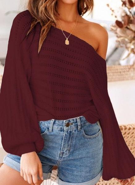 Oblique Neckline Solid Trendy Loose Regular Shift Sweaters_2