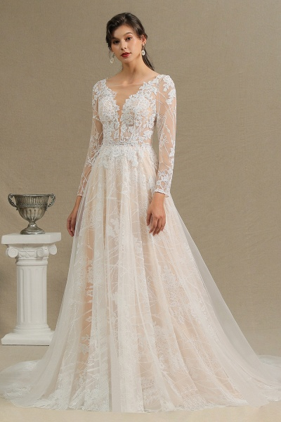 CPH230 Sheer Tulle Long Sleeve A-line Illusion Lace Wedding Dress_5