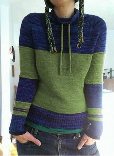 Round Neckline Color Block Casual Loose Shift Sweaters_5