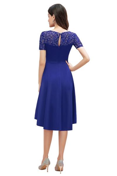 Short Sleeve Sequins Evening Hi-Lo Dress Tea Length Cocktail Dress_2