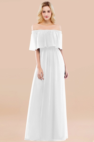 A-line Chiffon Off-the-Shoulder Short-Sleeves Ruffles Floor-length Bridesmaid Dress_1