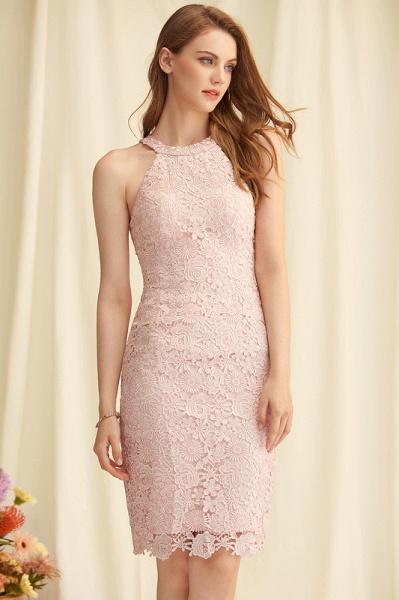 Sheath/Column Scoop Neck Knee-Length Lace Cocktail Dress_3