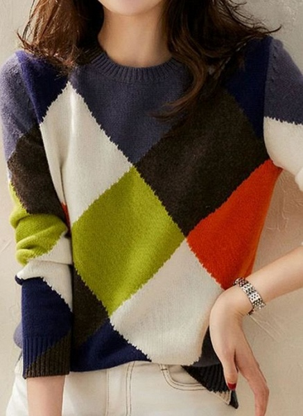 Round Neckline Color Block Casual Loose Regular Shift Sweaters_3